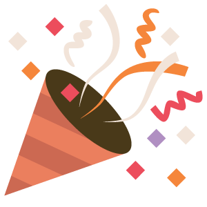 The .TIBA celebration emoji showing a red cone shooting out colorful confetti in red-ish and yellow-ish colors