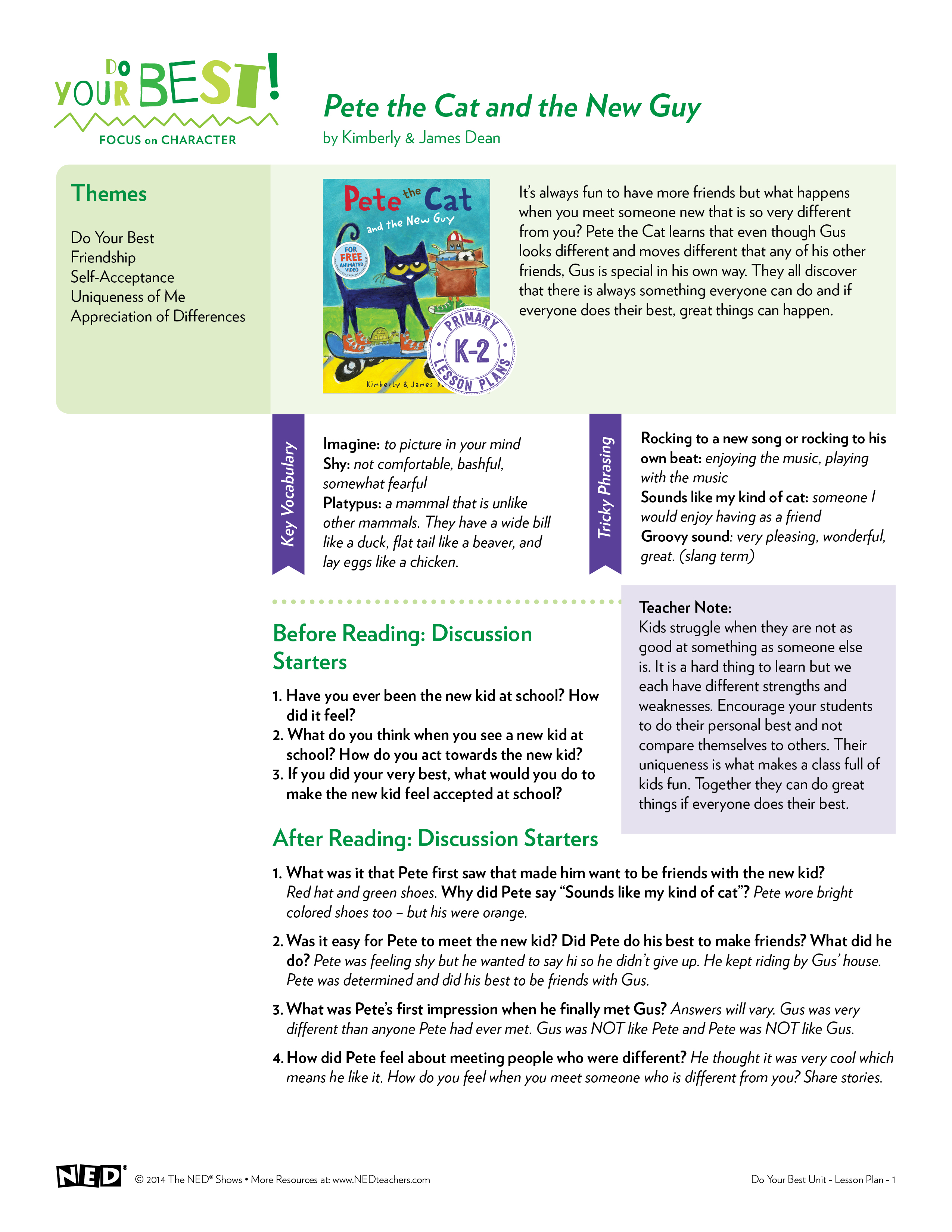 Pete the Cat and the New Guy Lesson