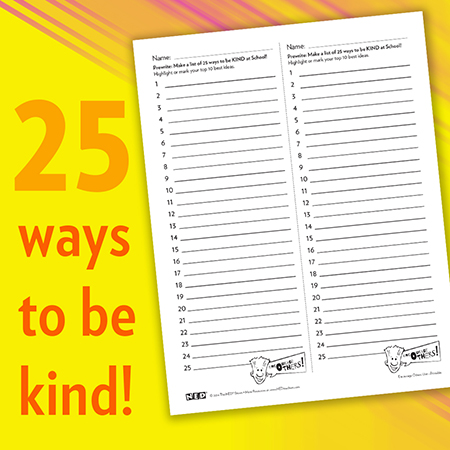 25 Ways to Be Kind Printable