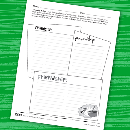 Friendship Recipe Printable