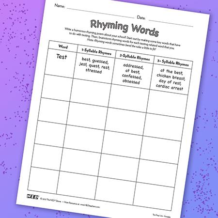 Rhyming Words Printable