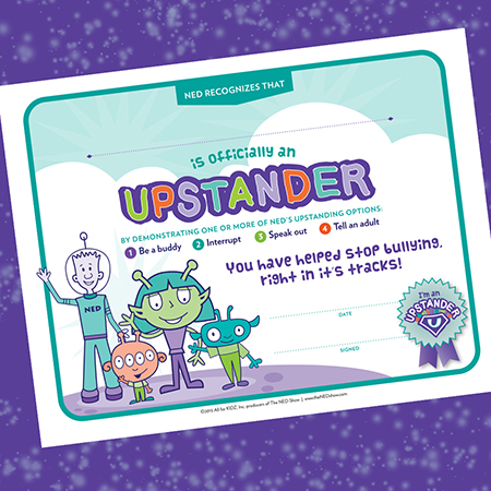 Upstander Certificate Preventing Bullying Printable
