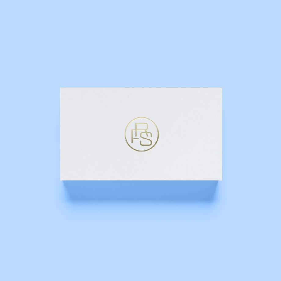 Robert Frederick Smith logo design. Branding Gold embossing on business card