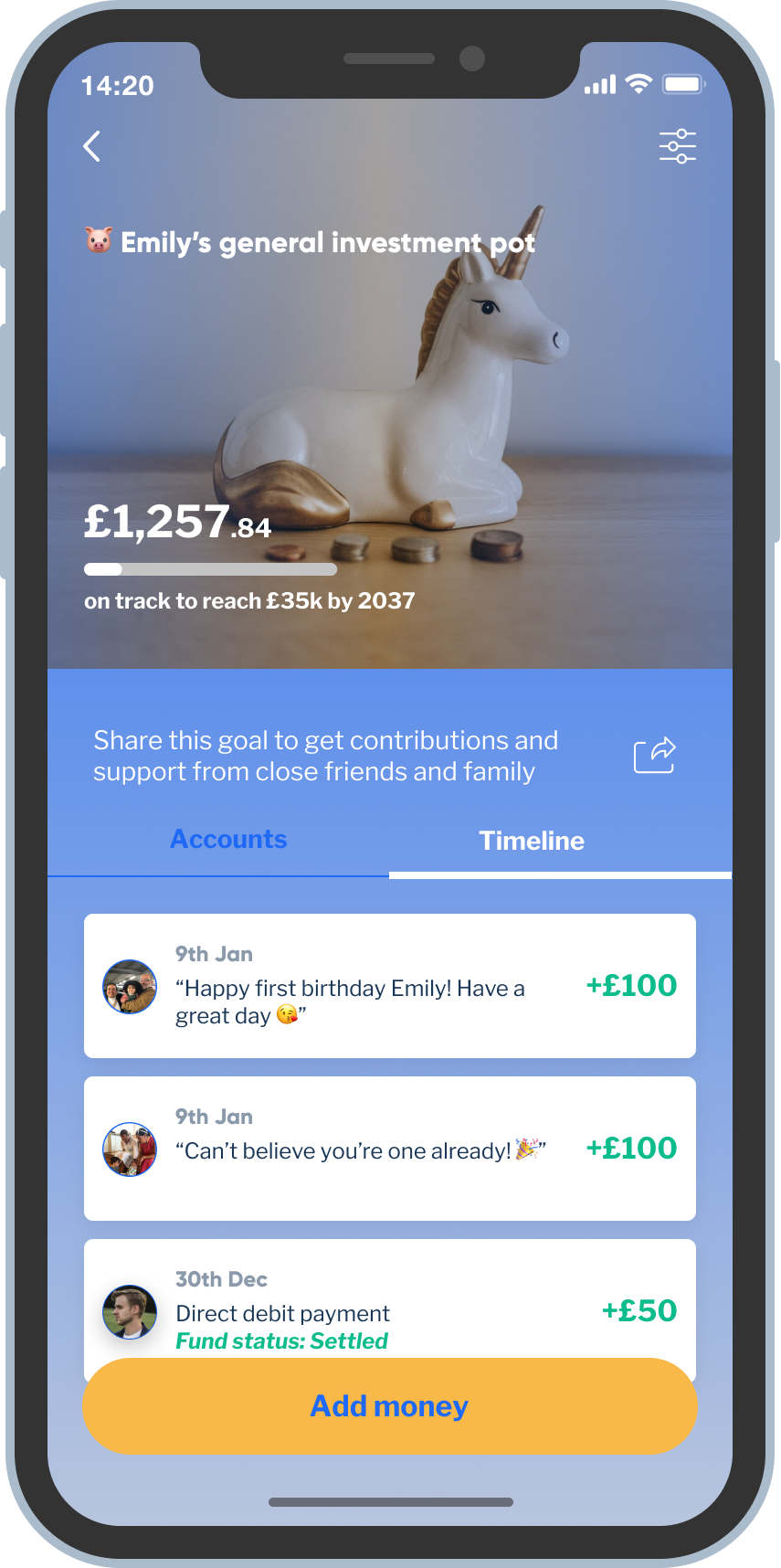 Mobile screenshot showing the messages and pictures that family and friends have left when contributing to the child's investment pot.