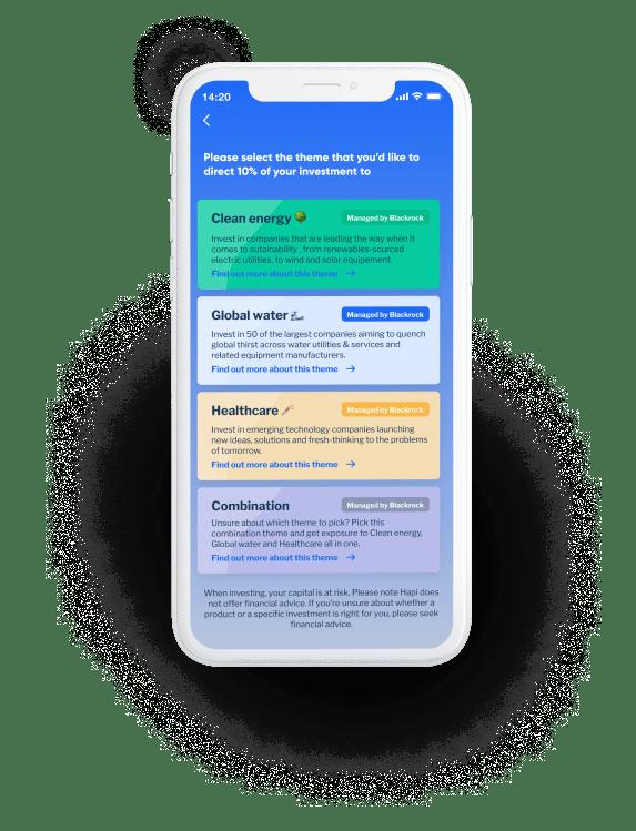 Phone screen displaying Hapi app investments