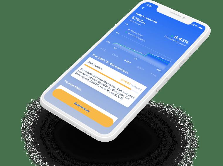 Phone screen displaying Hapi app account