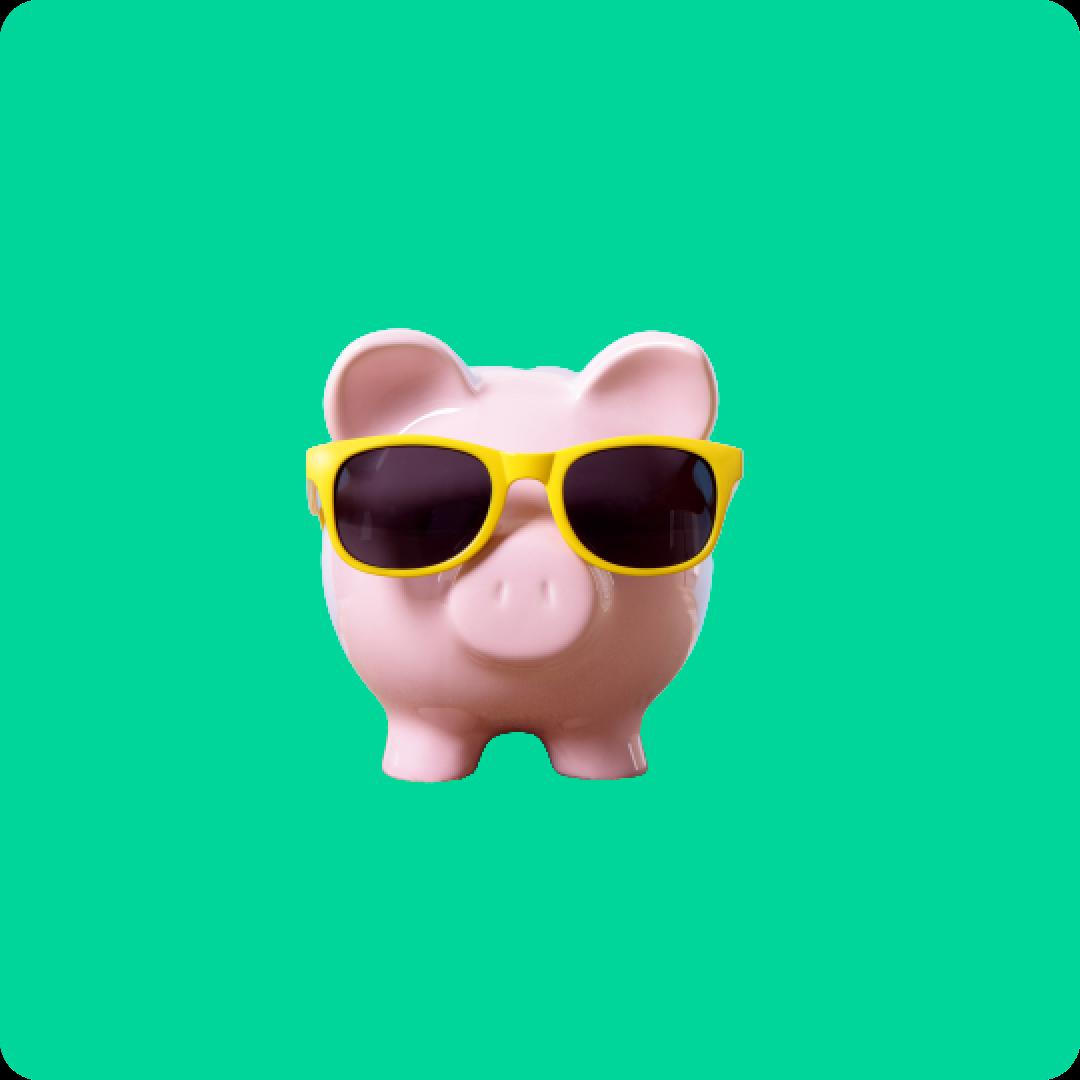 Piggy bank wearing sunglasses