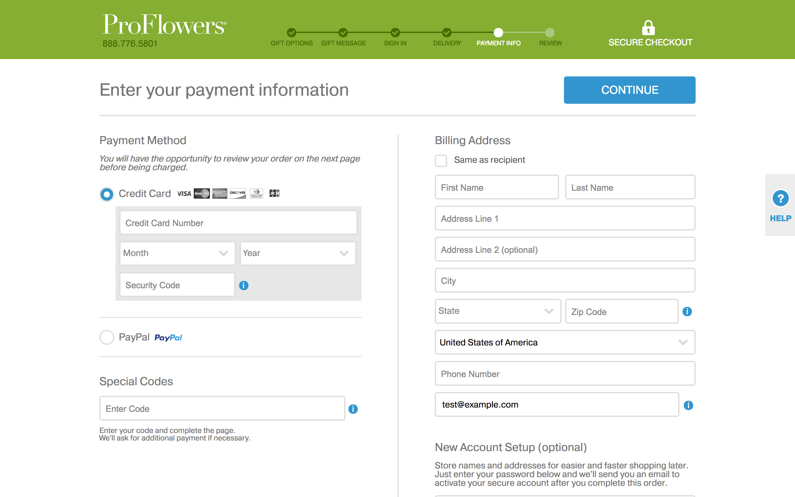 Proflowers - payment information page - screenshot