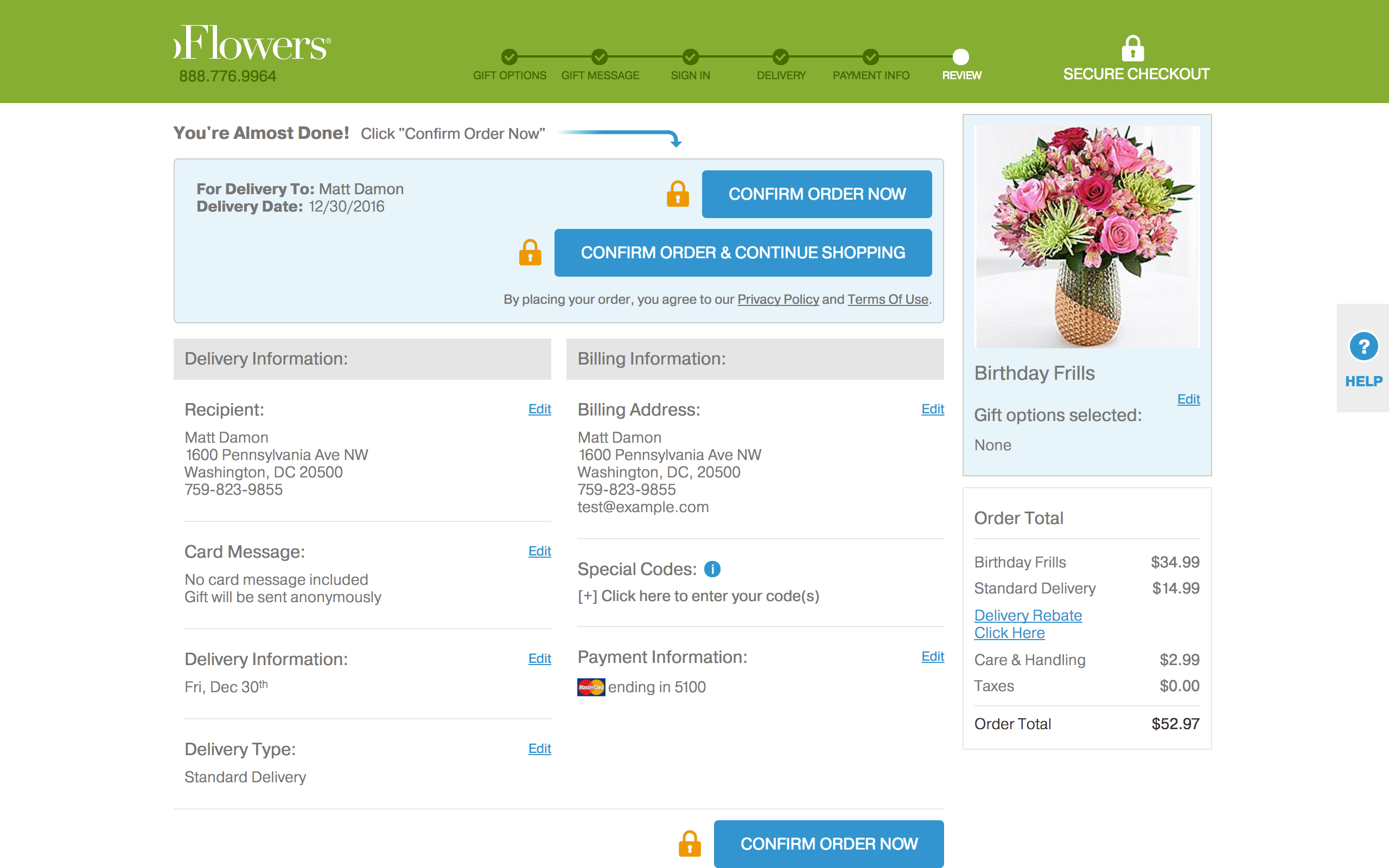 Proflowers - review order page - screenshot