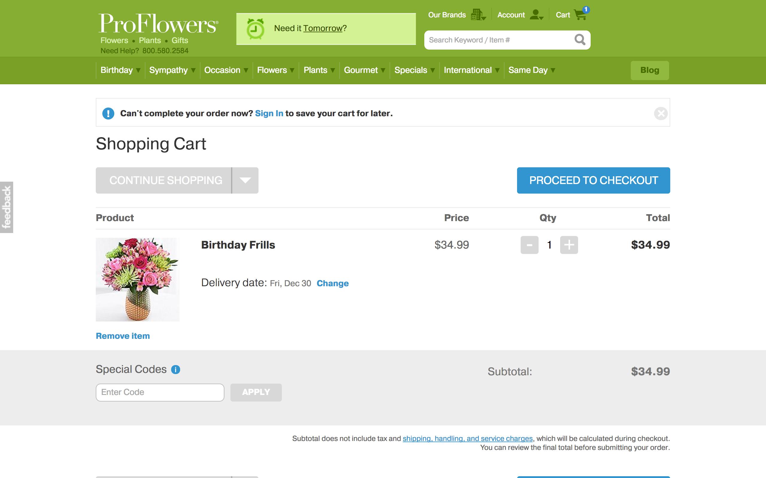 Proflowers shopping cart - screenshot