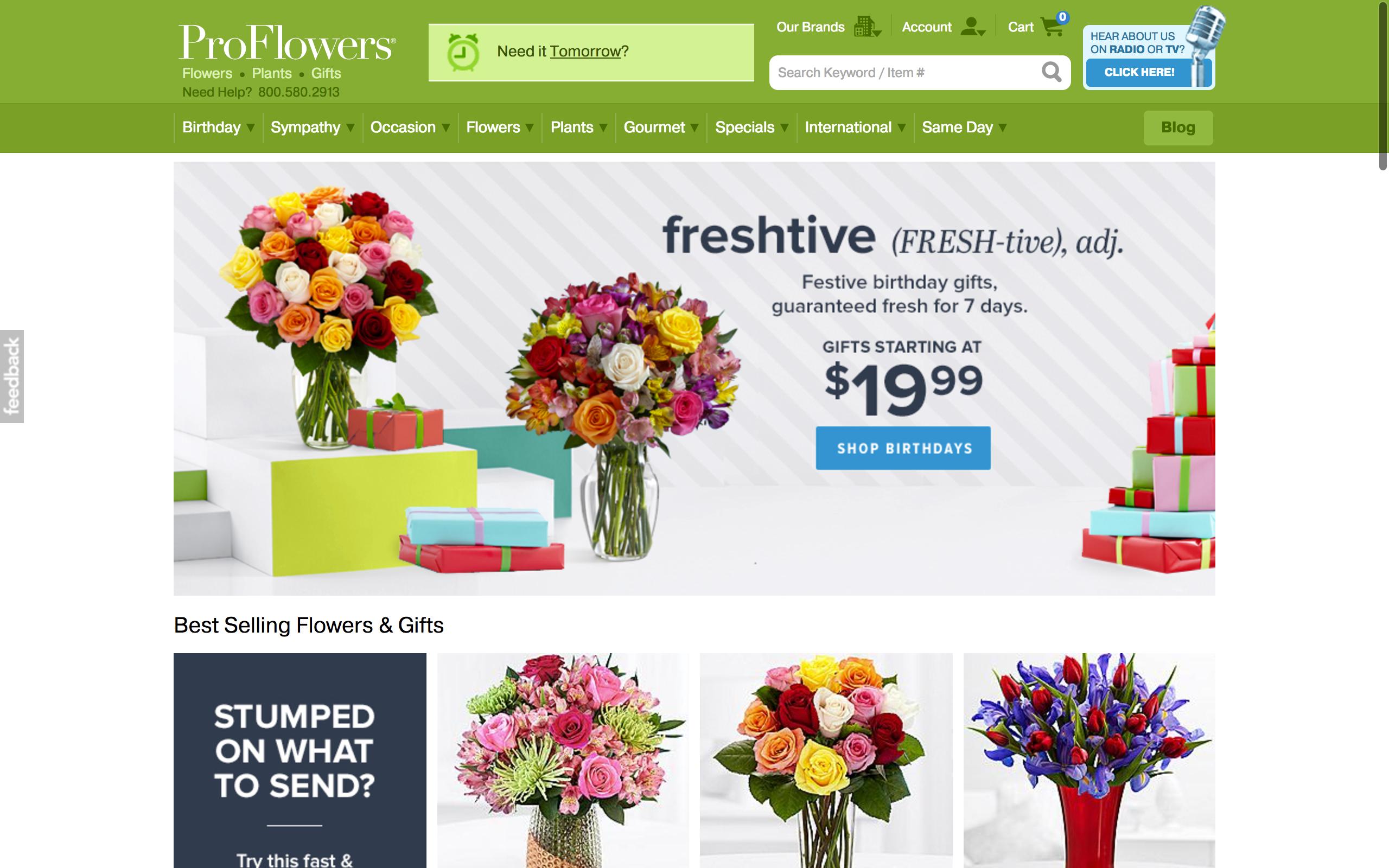 Proflowers Homepage - screenshot