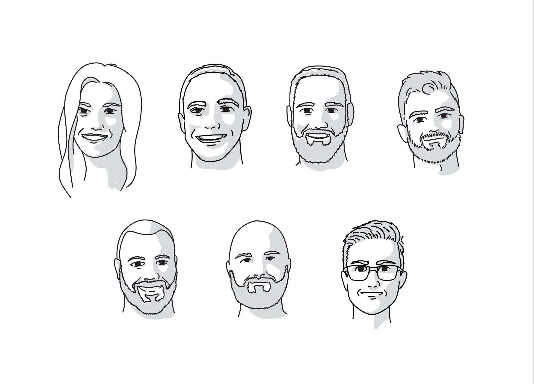 Simple line-driven portraits of seven former Brunch Digital employees