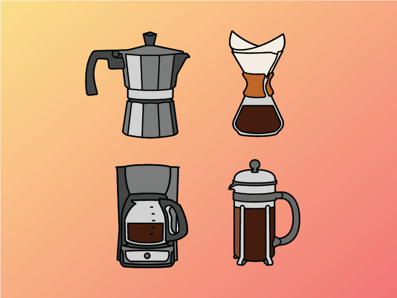 An illustration of four different coffee makers: a stovetop moka pot, a Chemex, an electric drip, and a french press.