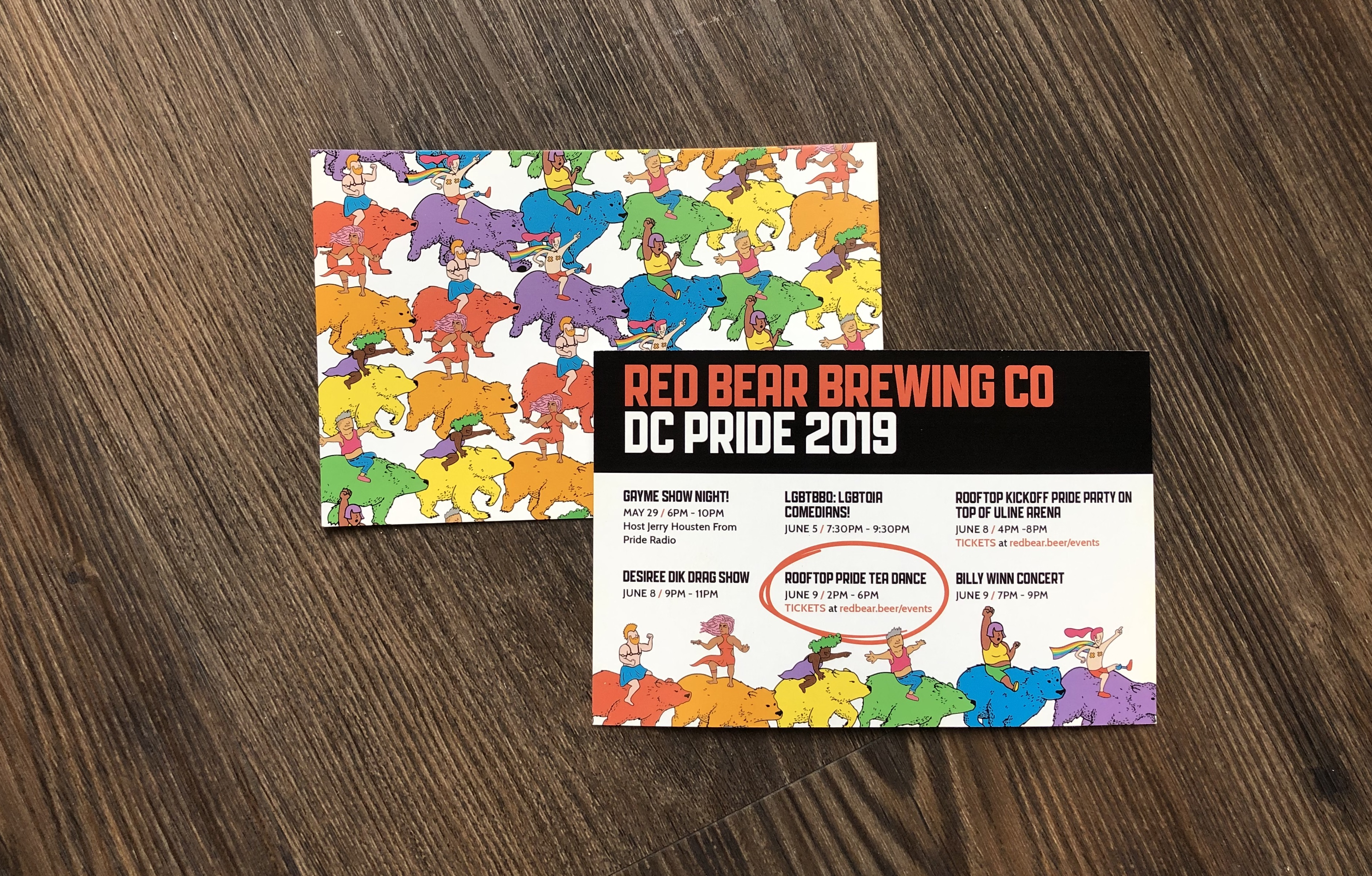 The front and back of a postcard promoting Red Bear's pride week events