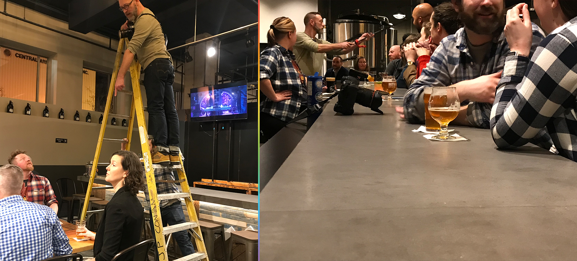 A photographer on a ladder, directing people below. A photographer being handed a light across the bar.