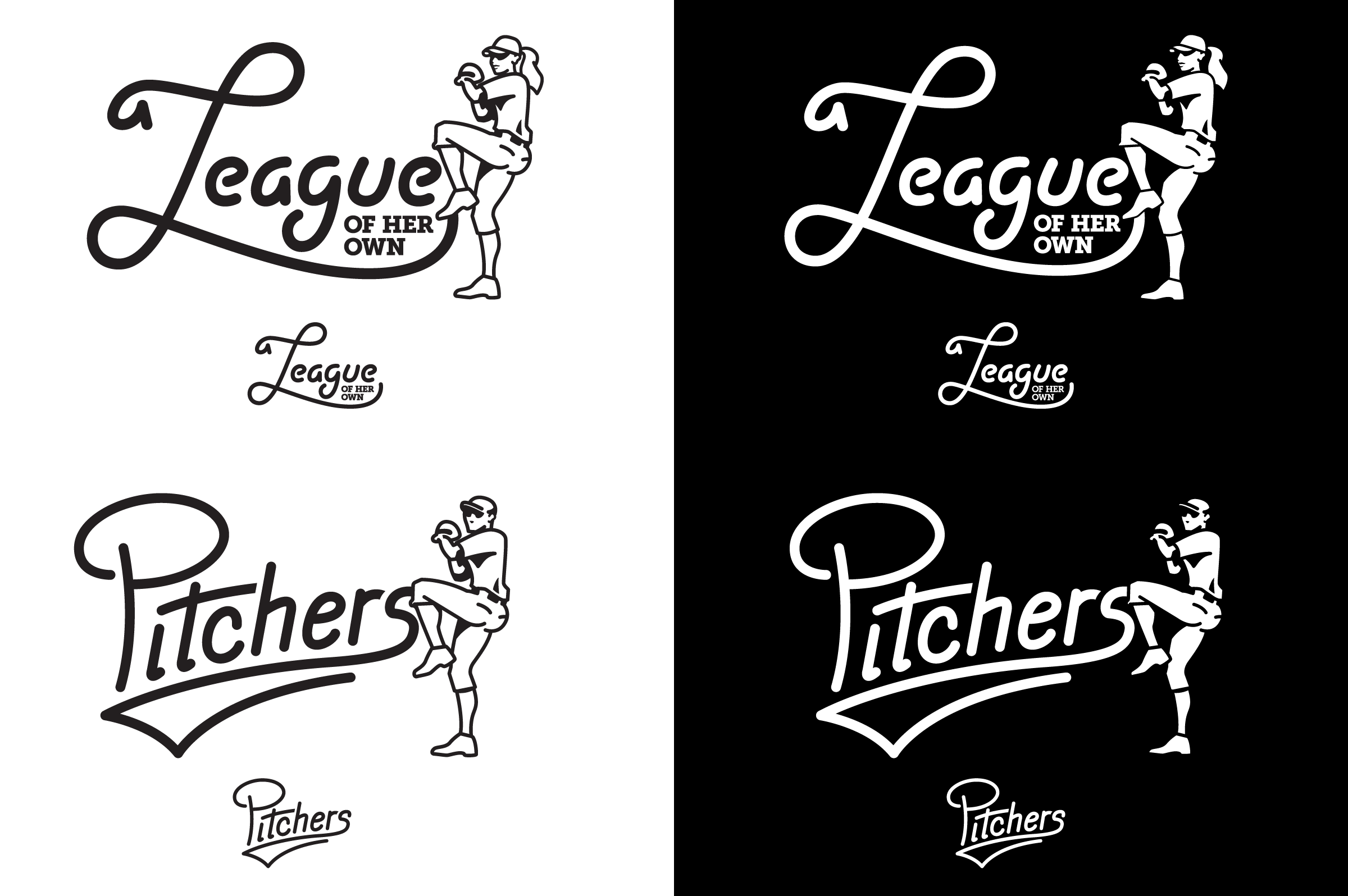 Black and white versions of the Pitchers and League of Her Own logos