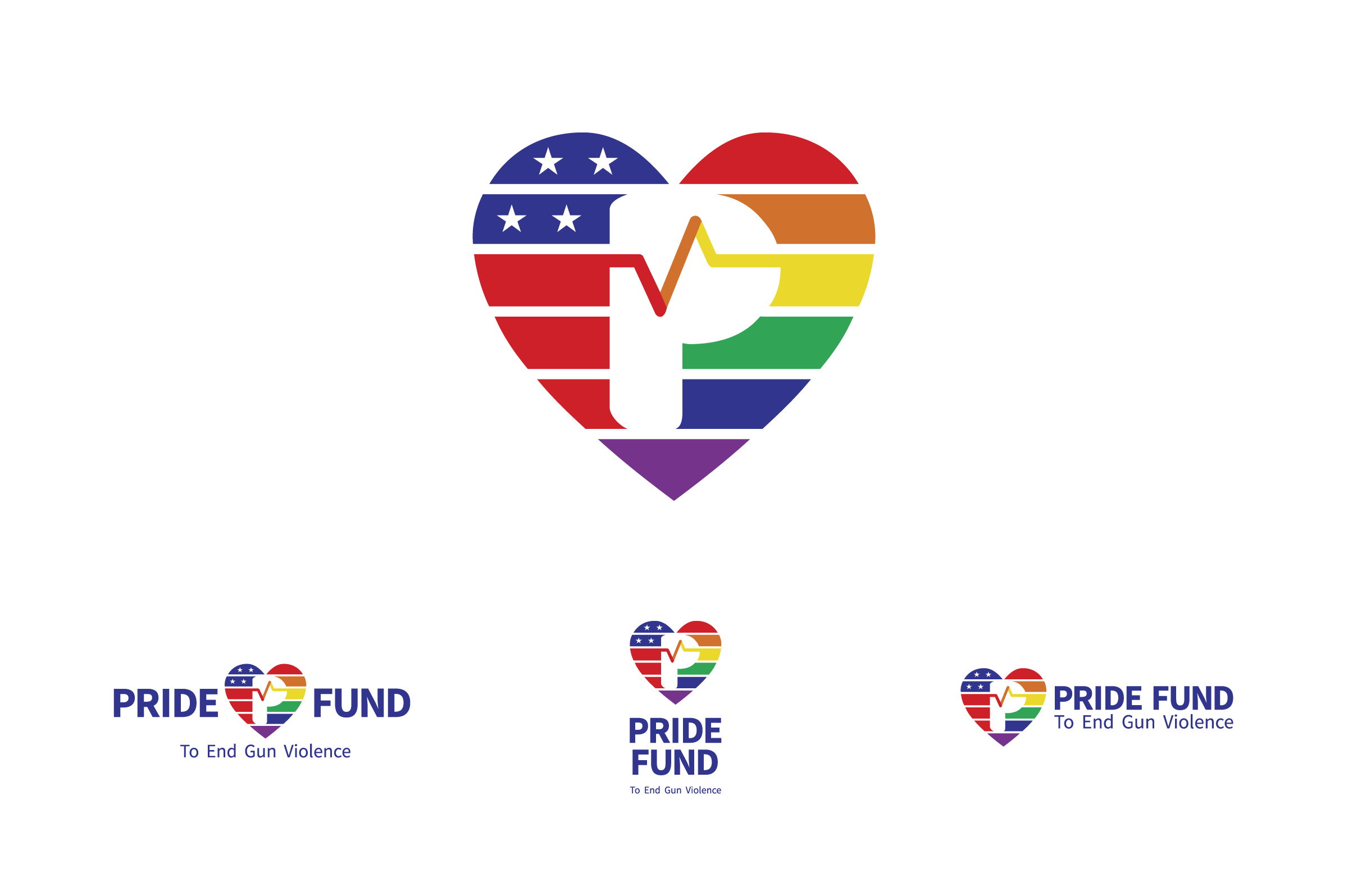 Variations of the pride fund logo on a white background