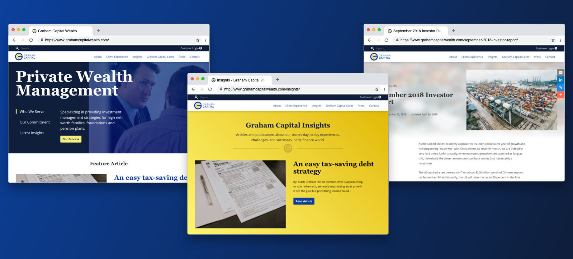 Three browser windows. The first displays the Graham Capital homepage, the second displays the Graham Capital blog, and the third displays a blog post.