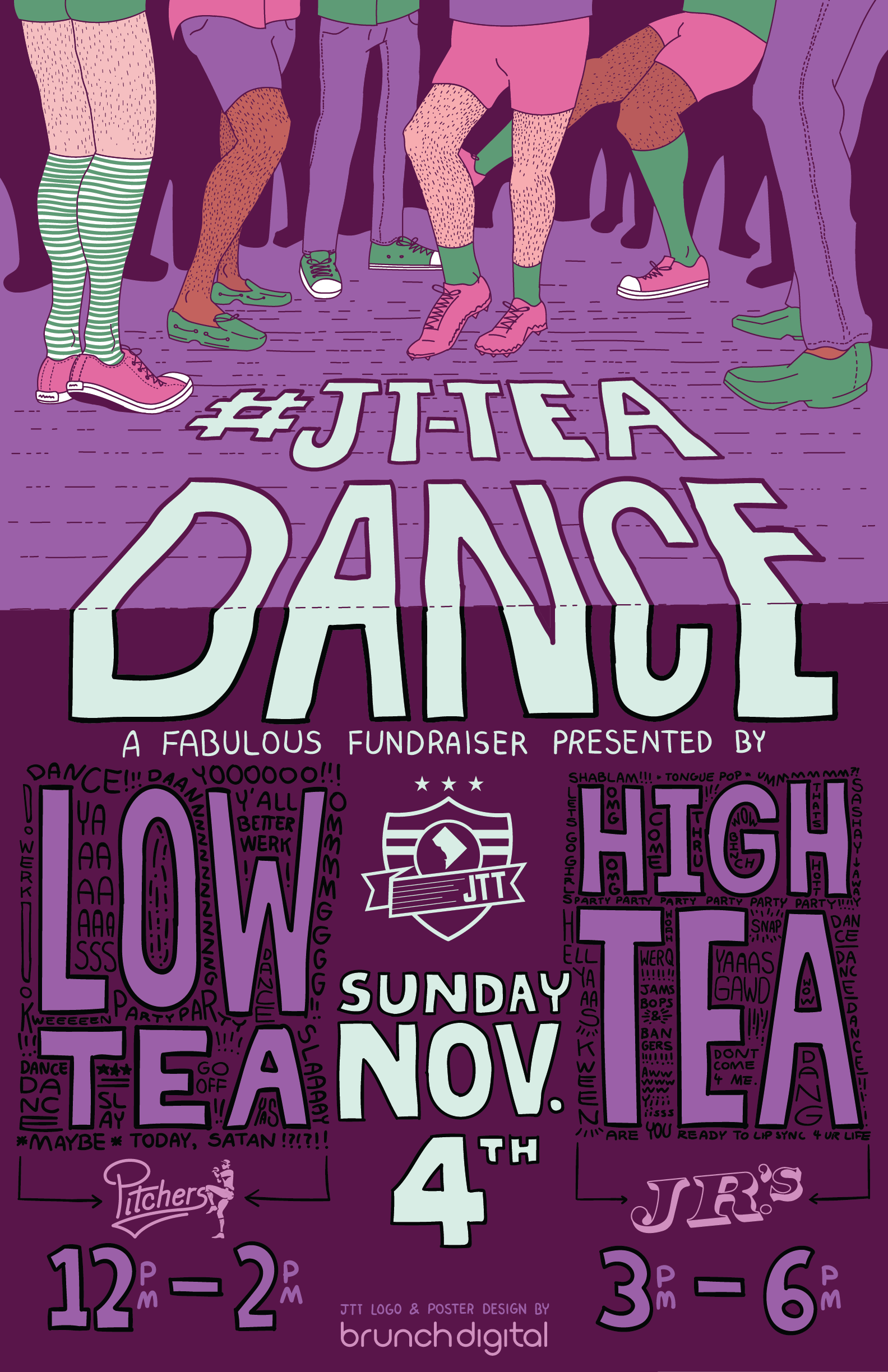 "An illustrated poster promoting the ""JT Tea Dance"" event at local gay bars in DC"