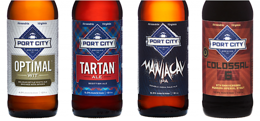 Four different beer bottles from Port City Brewing Co.