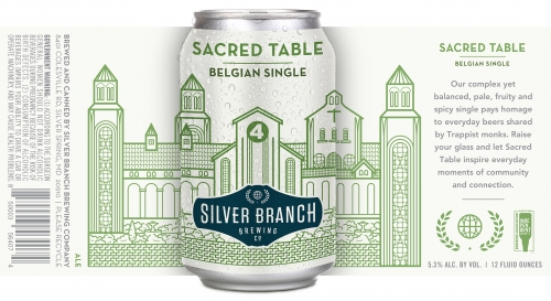 """A mockup of the beer label for Silver Branch Brewing Co's """"Sacred table"""" Belgian ale"""