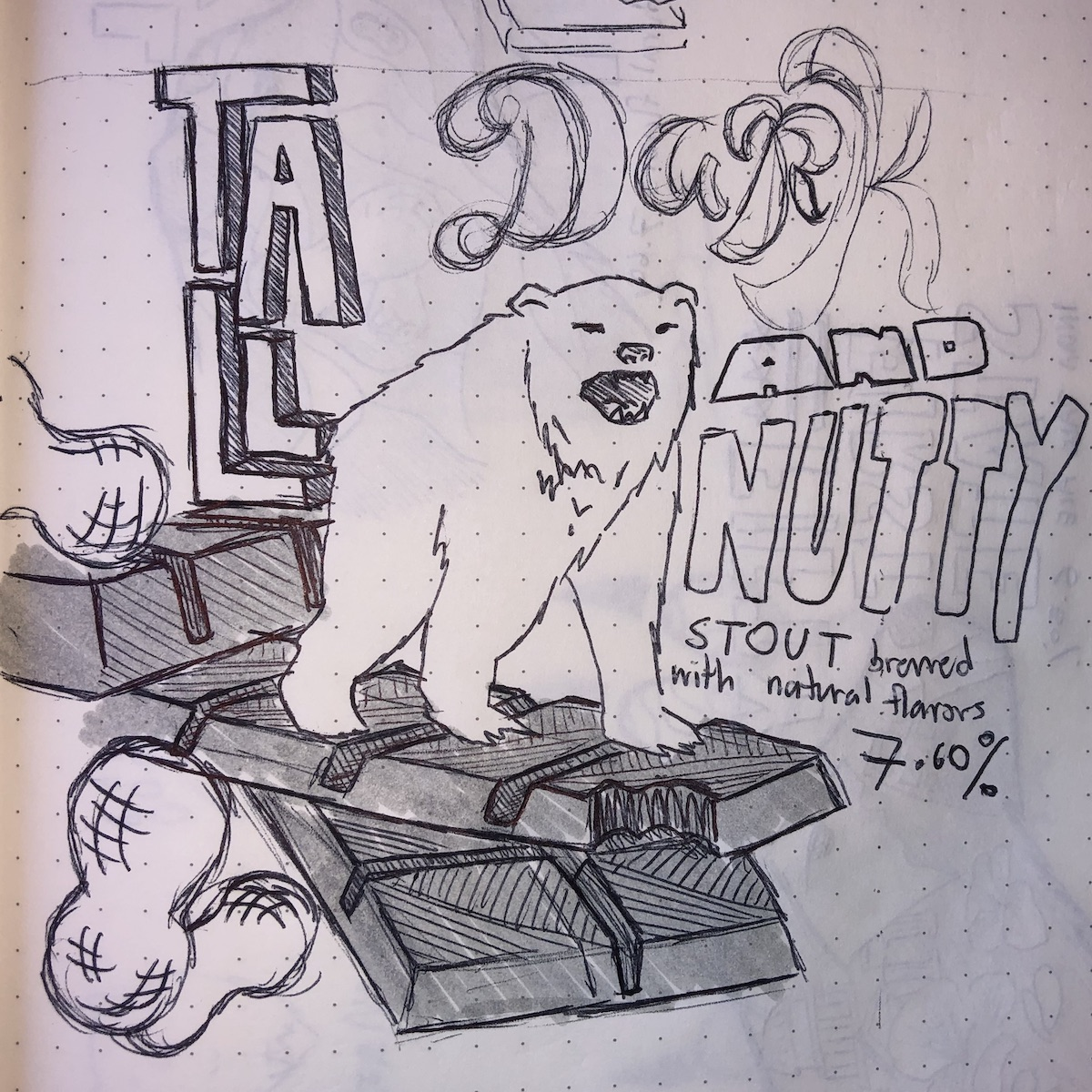"""A sketch of the """"habitats"""" concept for the tall dark and nutty beer"""