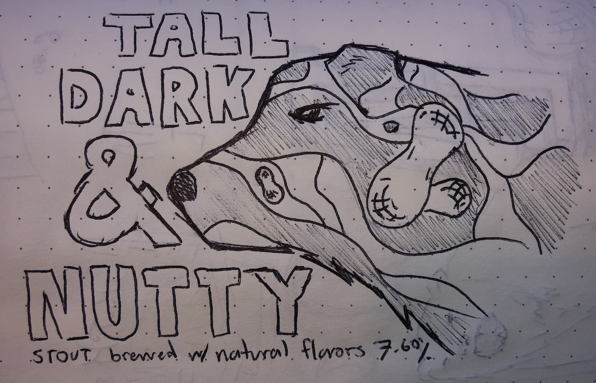 """A sketch of the """"silhouette"""" concept for the tall dark and nutty beer"""
