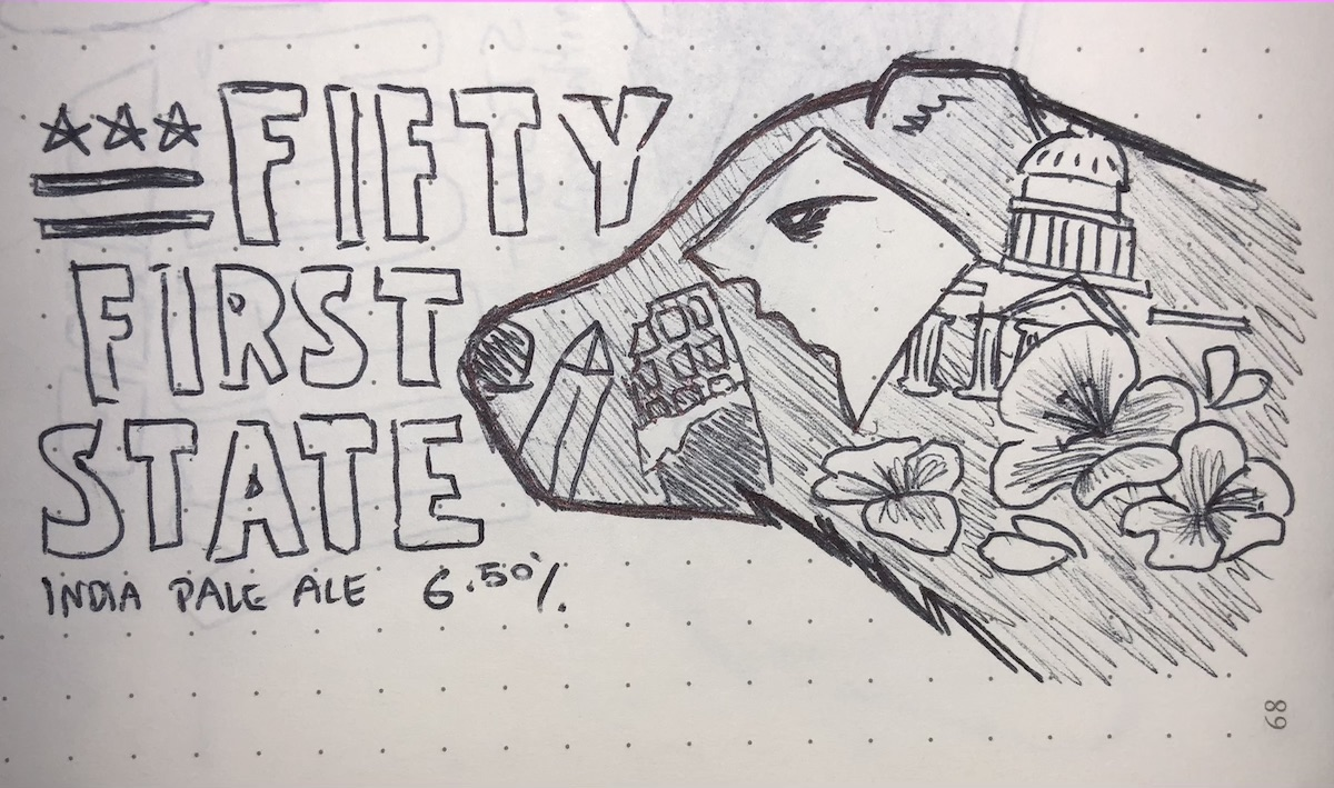 """A sketch of the """"silhouette"""" concept for the fifty-first state beer"""