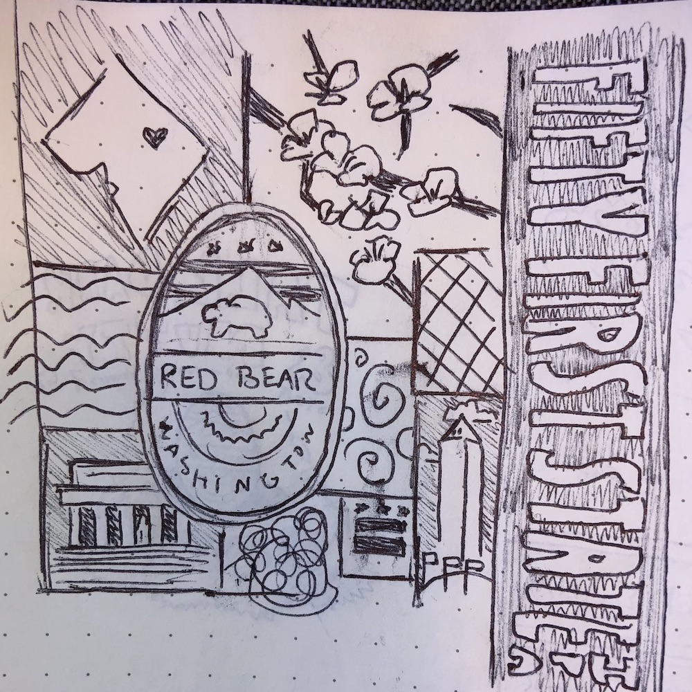 """A sketch of the """"collage"""" concept for the fifty-first state beer"""