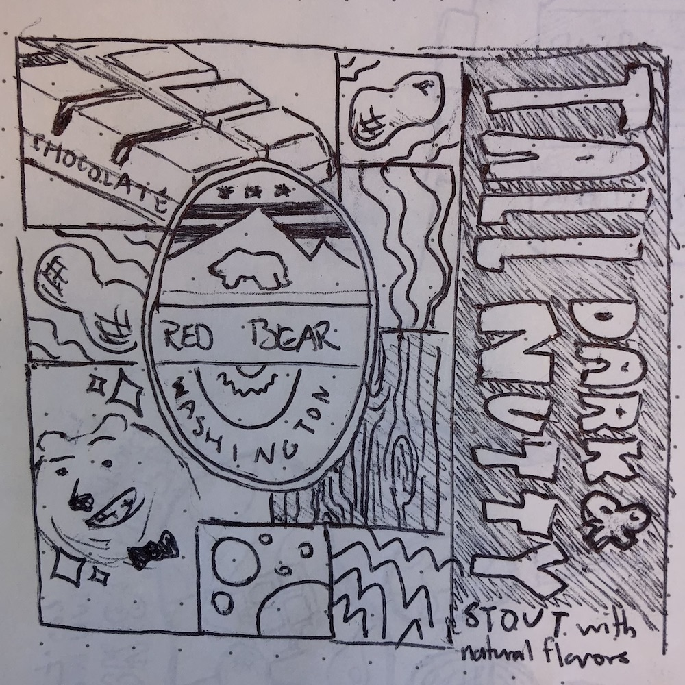 """A sketch of the """"collage"""" concept for the tall dark and nutty beer"""