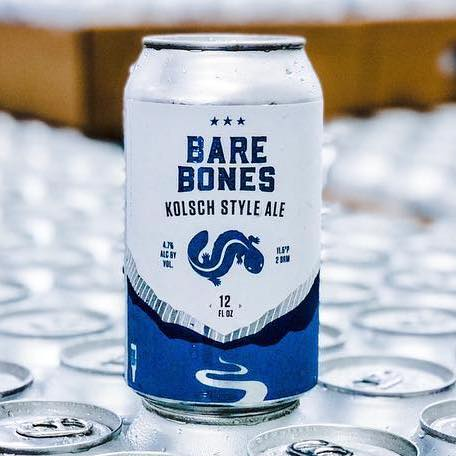 "A can of Hellbender Brewing Co's ""Bare Bones"" Kolsch ale"