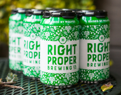 """Six pack of Right Proper Brewing Co's """"Raised By Wolves"""" IPA beer"""