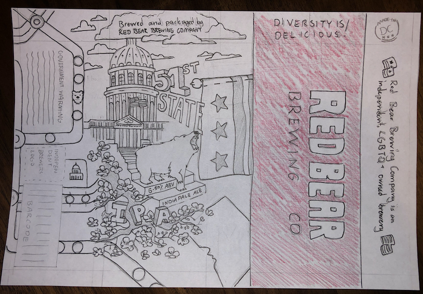 higher fidelity sketch of the fifty-first state beer label