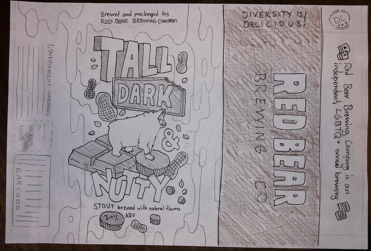 higher fidelity sketch of the tall dark and nutty beer label