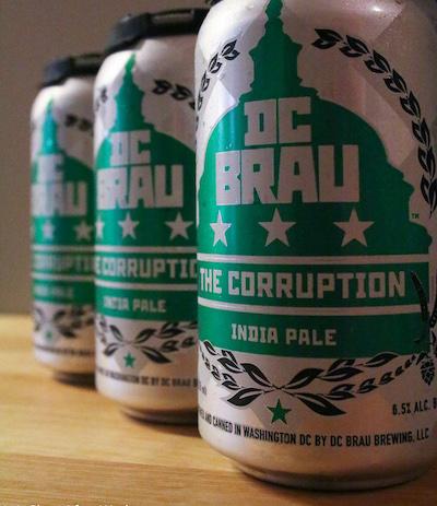 "Close up of DC Brau's ""Corruption ale"" beer"