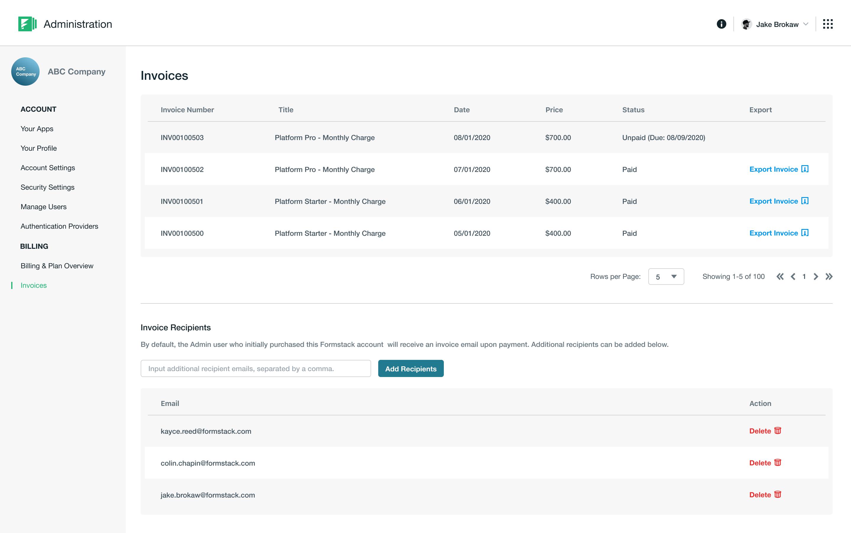 New Invoices & Invoice Recipients Screen
