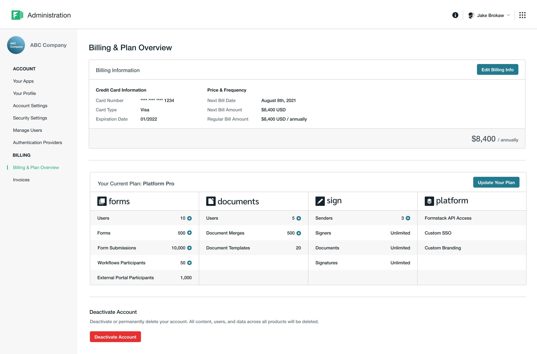 Screenshot of the new platform billing and plan information screen