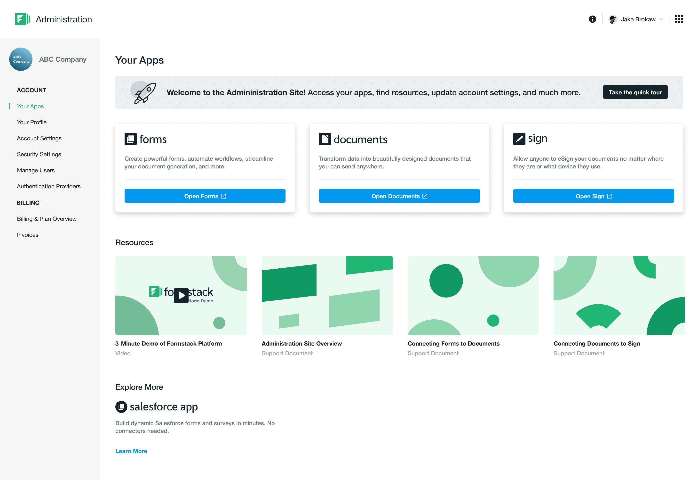 Screenshot of the new platform dashboard screen.
