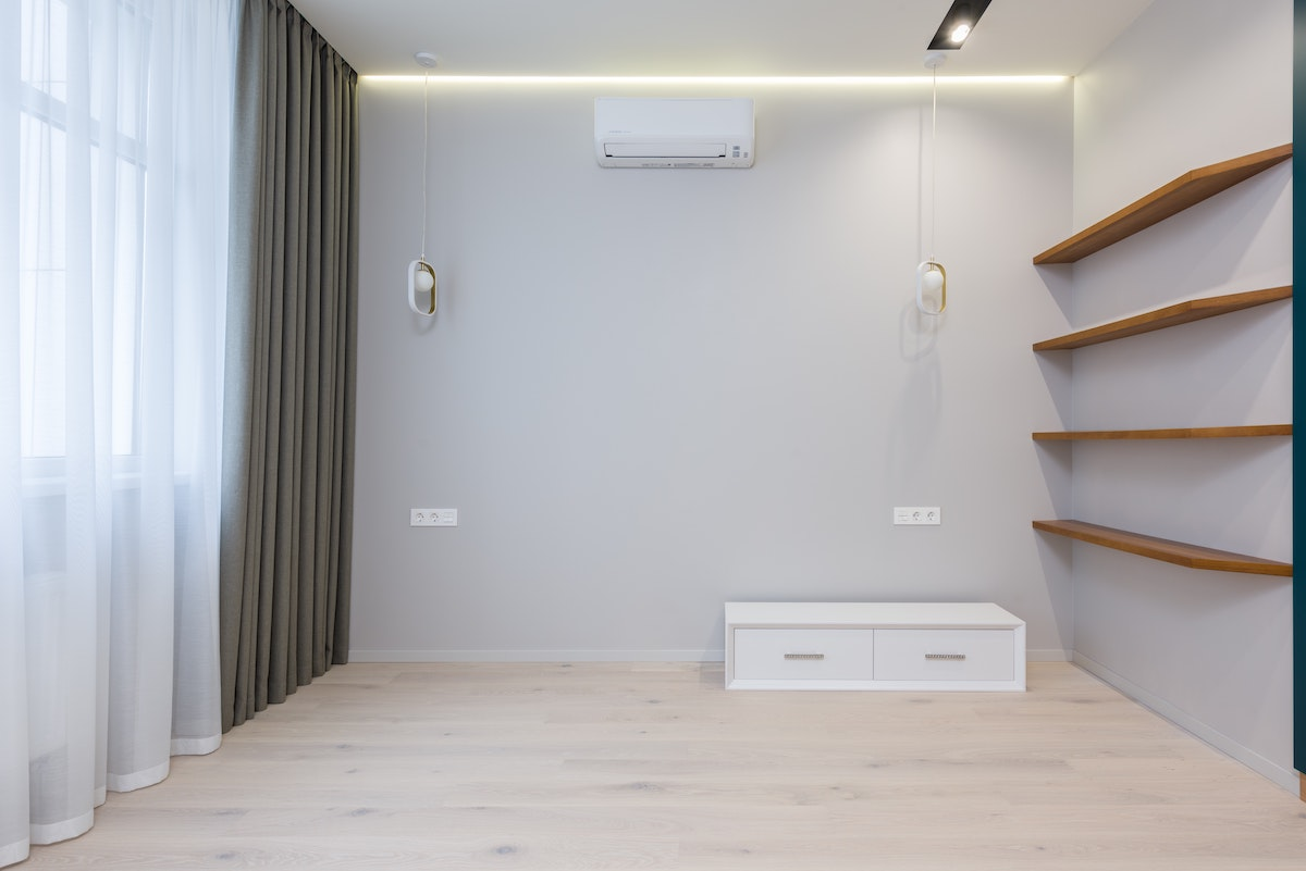 Empty room with AC unit