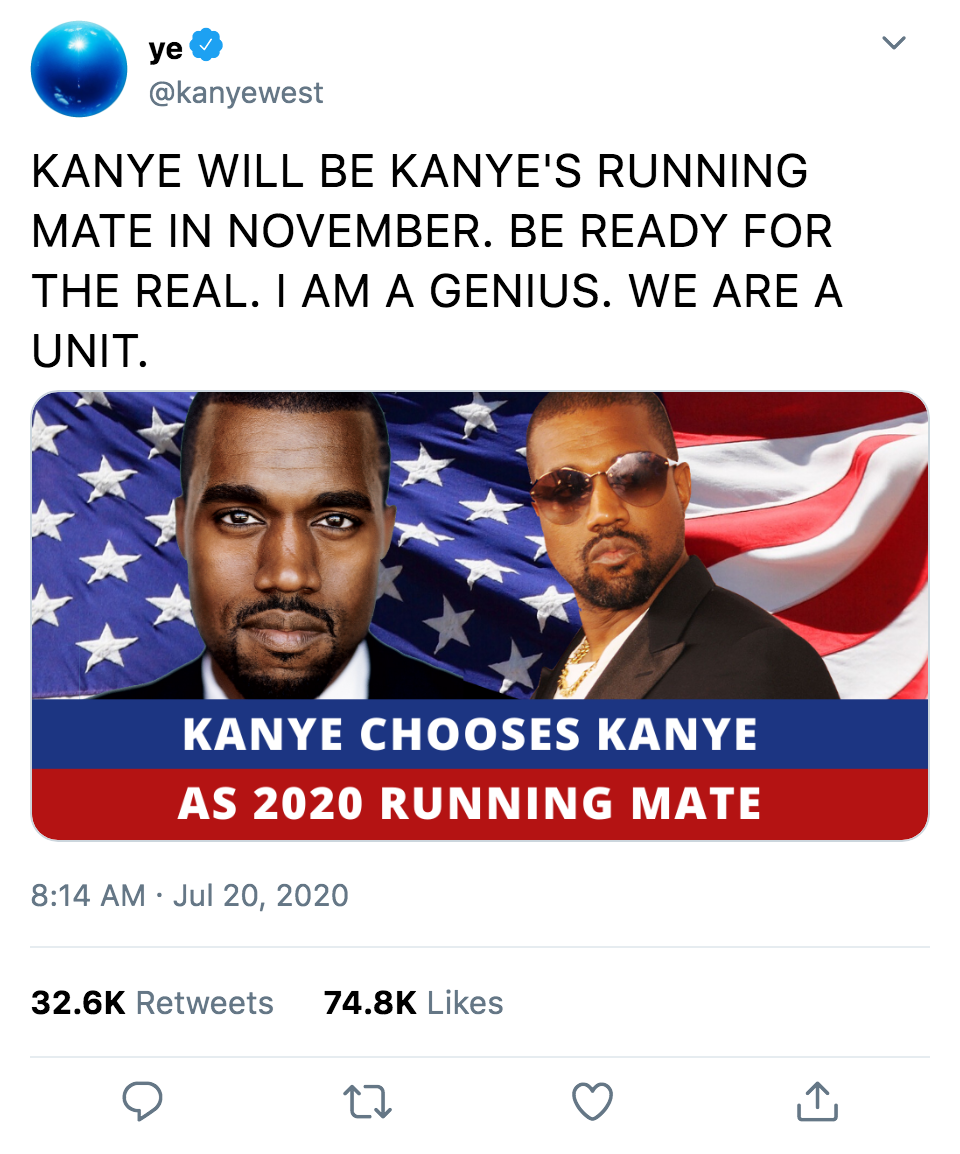 Kanye West chooses himself as running mate in the 2020 Presidential election