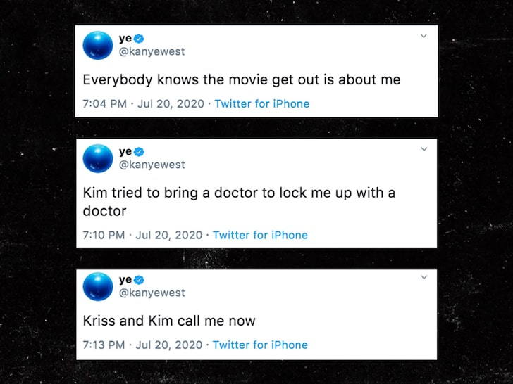 Kanye West accusing Kim Kardashian of trying to commit him to a mental hospital. Said her and Kris Jenner won't return his calls.