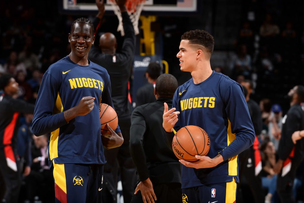 Bol Bol and Michael Porter Jr. during NBA pre-game versus the New Orleans Pelicans. The game also showed off rookie standout Zion Williamson.