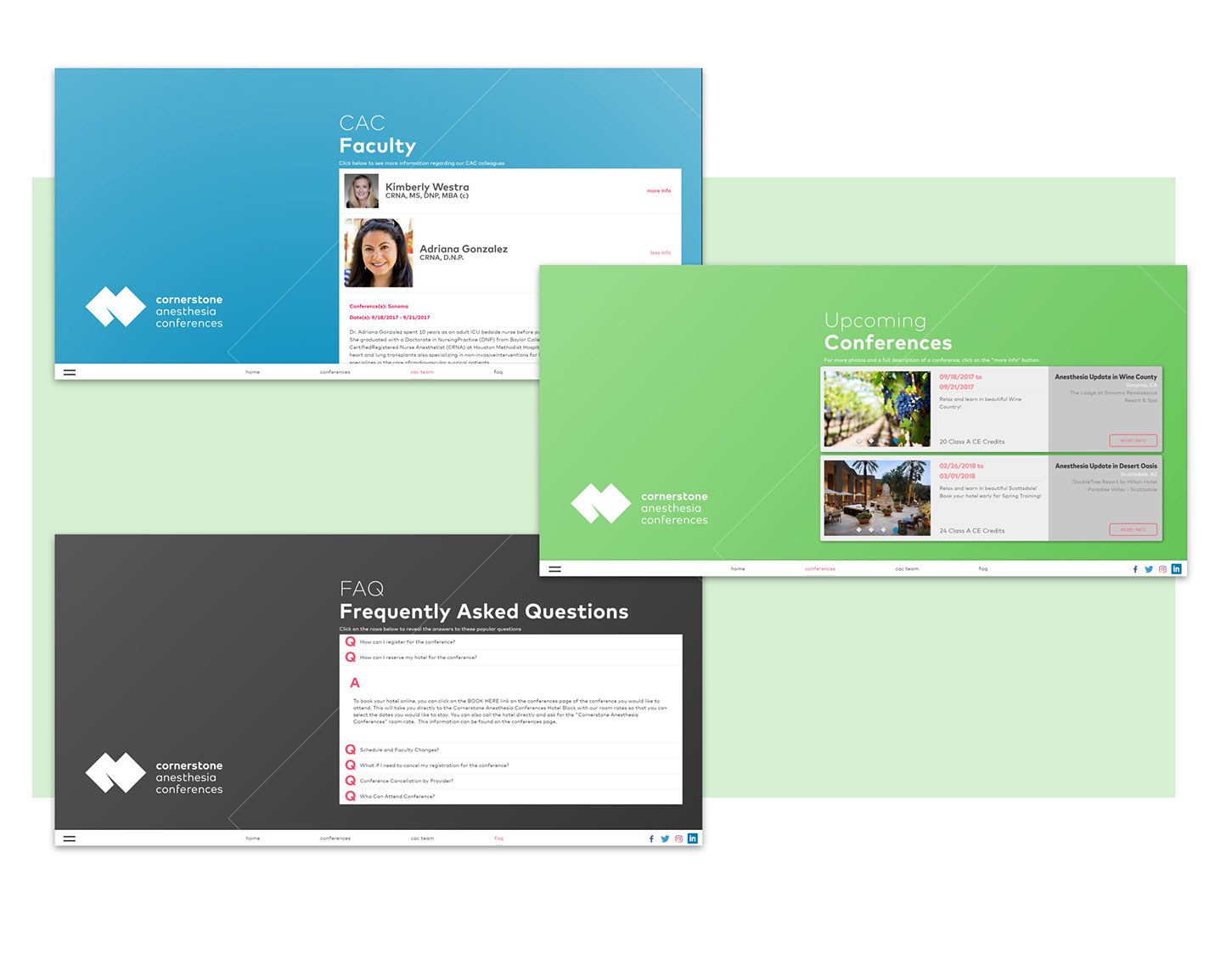 Cornerstone Anesthesia Conferences website design