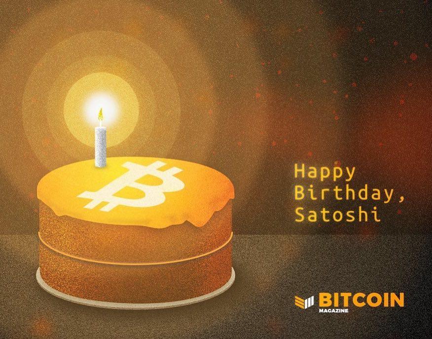 """Bitcoin Magazine """"Happy Birthday, Satoshi"""" graphic"""