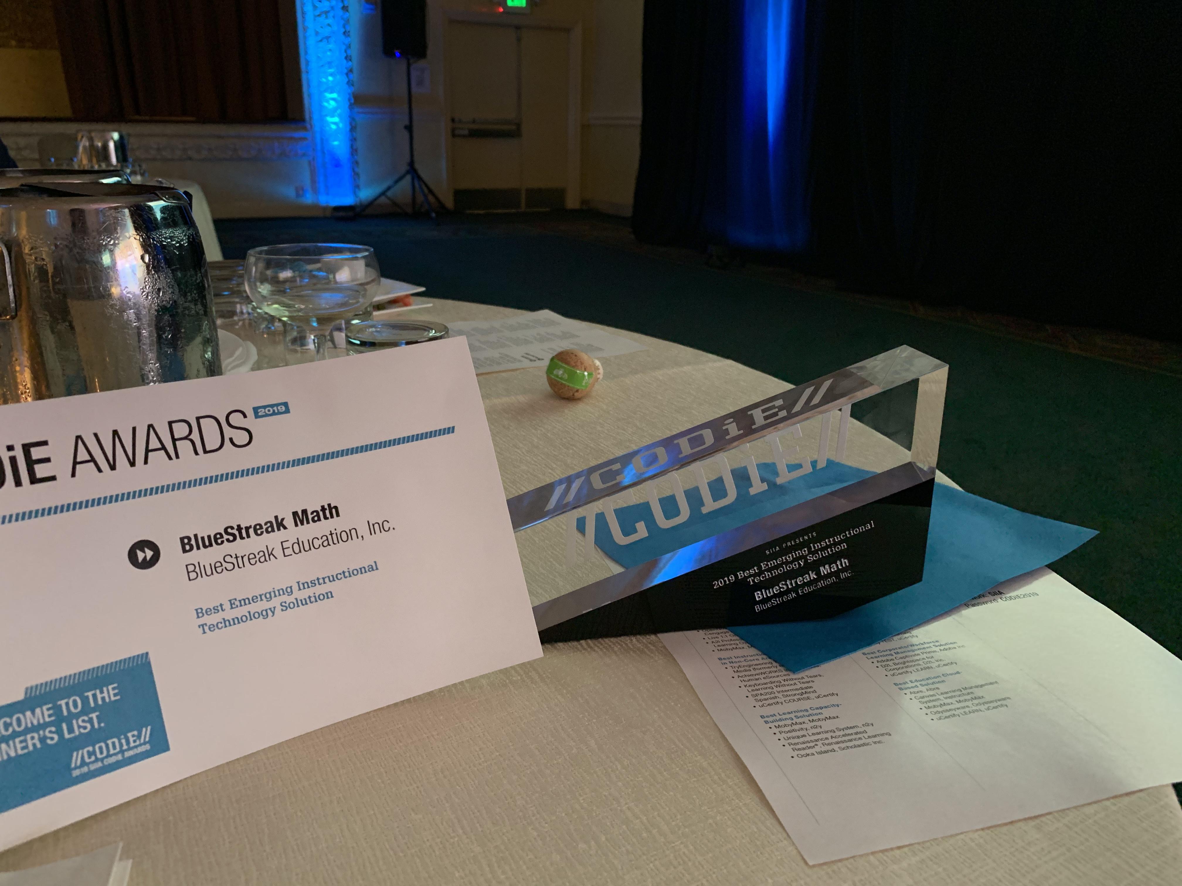 BlueStreak CODiE Award 2019 – Thanks Catherine, Mitch + team!
