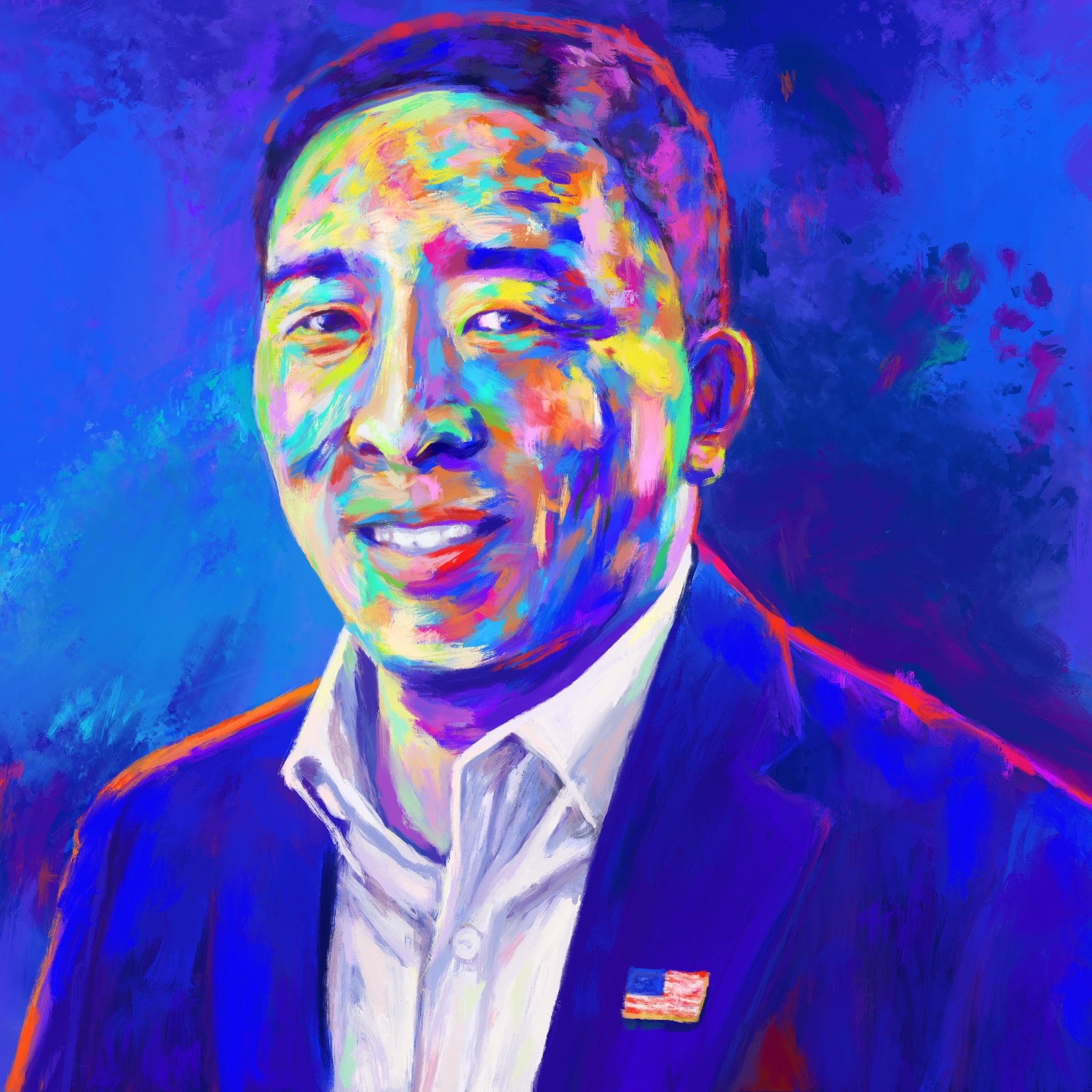 Andrew Yang Policy Portrait (base painting) #Yang2020 #ArtistsForYang