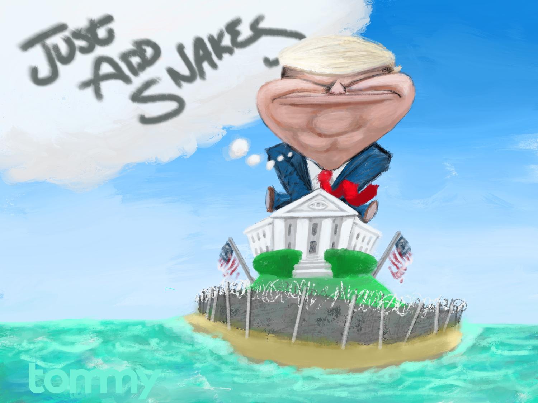 Trump Moat cartoon