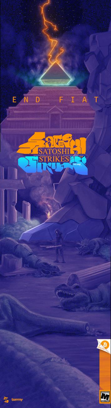 """Satoshi Strikes"" Skate Deck Design"