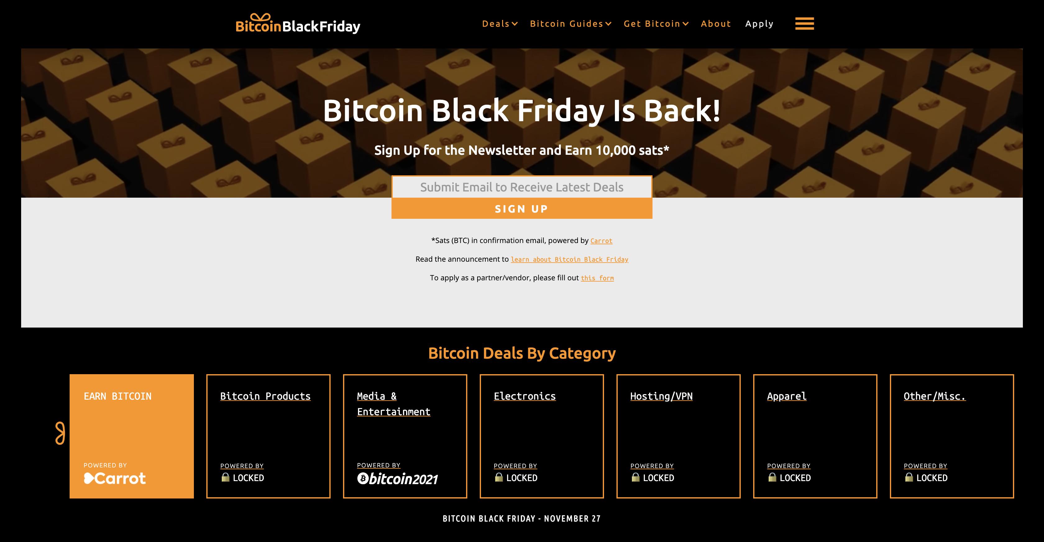 Bitcoin Black Friday branding + website