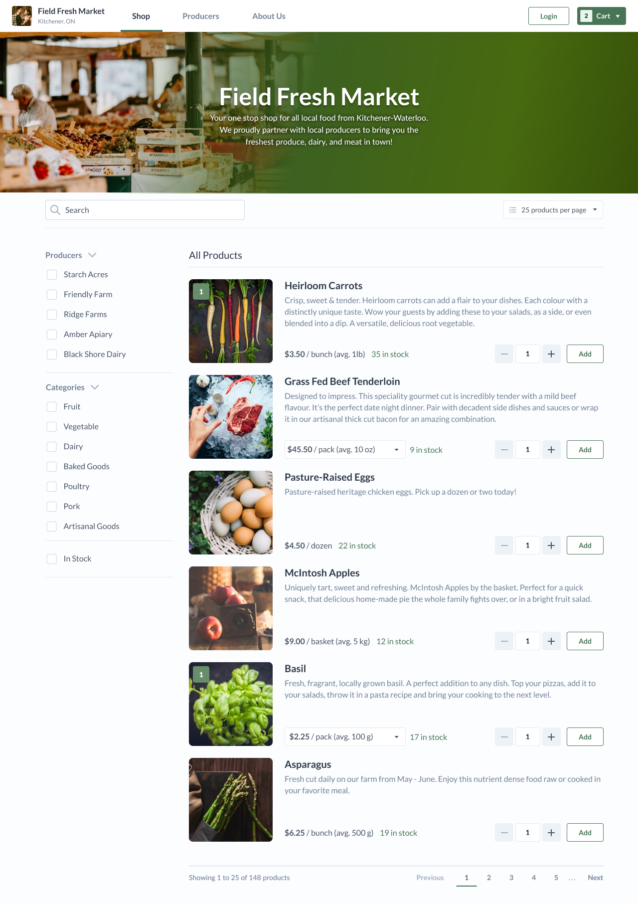 A screenshot of an online farmers market selling produce, eggs, and beef from multiple vendors.